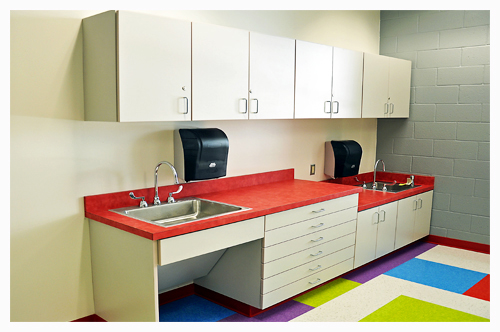 Plastic Laminate Clad School Casework at Bethel Middle School - Hampton